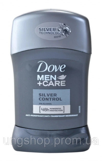 Dove Men+Care Silver Control твердий антиперспірант 48 годин (50 мл)
